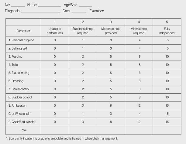 Modified Barthel Index Scoring Form Korean Modified Barthel Index